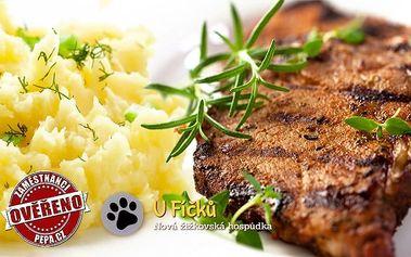 1,2 nebo 2 kg krkovice a šťouchané brambory pro 2 či 4 osoby v hospodě U Fíčků v Praze