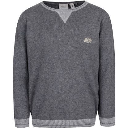 Tmavě šedý klučičí svetr s žebrovanými lemy name it Seras