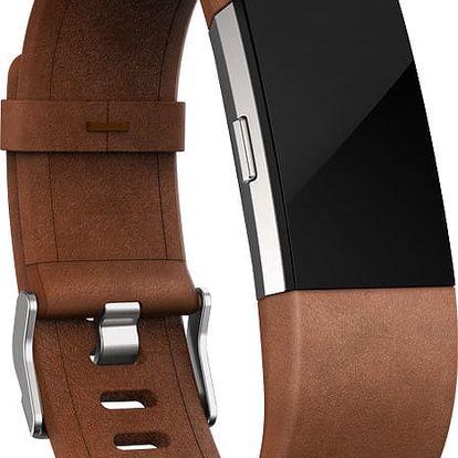 Fitbit Charge 2 Accessory Band kožený S, hnědá - FB160LBBRS