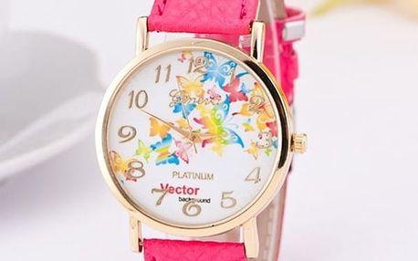 Dámské hodinky s barevnými motýly - dodání do 2 dnů