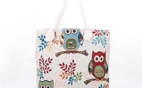 Fashion Icon Dámská taška Sovičky na větvíčce lněná