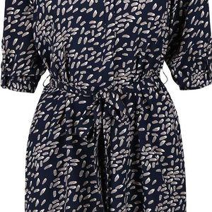 Tmavě modré vzorované šaty s 3/4 rukávy Apricot