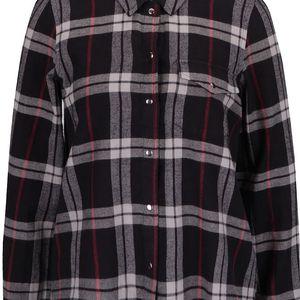 Krémovo-černá károvaná košile s roztřepeným okrajem Noisy May Erik