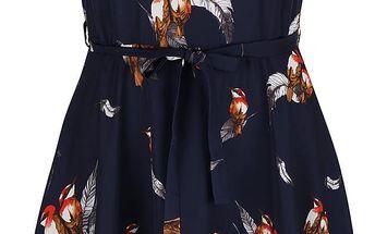 Modré šaty s potiskem ptáčků Mela London