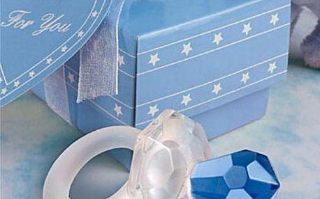 Symbolický dudlík v růžové nebo modré barvě