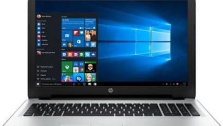 Notebook HP 15-af114nc (W2X07EA#BCM) stříbrný/bílý