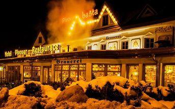 3–5denní romantický či pivní pobyt pro 2–4 osoby ve Vrchlabí v hotelu Pivovarská Bašta