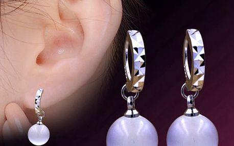 Dámské náušnice s bílou perličkou