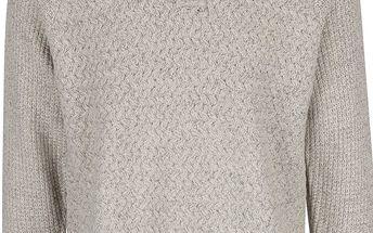 Šedo-krémový žíhaný svetr s knoflíky Burton Menswear London