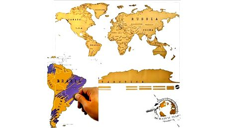 Originální stírací mapa světa je prostě geniální. Tato mapa mě na sobě vrstvu zlaté fólie.