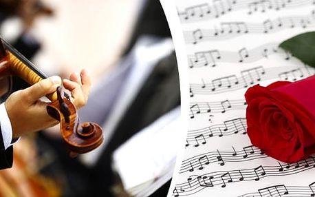 Koncert: Valentýnská romantika ve vyhřívanémkostele U Salvátora: symfonický koncert světových skladatelů, při koupi vstupenky do sekce A či VIP, dostanete navíc lahev vína.