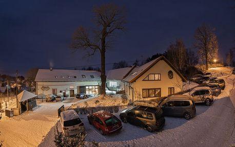 Vysočina na 3-5 dní pro 2 osoby + 1 dítě: polopenze + bazén, sauna, lyžování na sjezdovkách