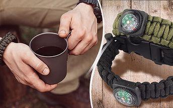 Náramek přežití 5v1: vodotěsné křesadlo, ocelové škrtátko, pazourek, kompas a píšťalka