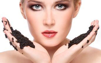 1hod. luxusní kosmetické ošetření s kaviárem: sérum, mikrodermabraze, maska a ampule, masáž