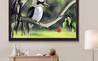 Nedokončený DIY obraz s barvami a štětci - Pták na stromě