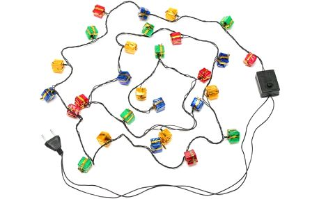 Vánoční LED světelný řetěz s motivem dárečků