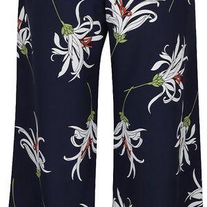 Tmavě modré volnější 3/4 kalhoty s motivem květů Dorothy Perkins