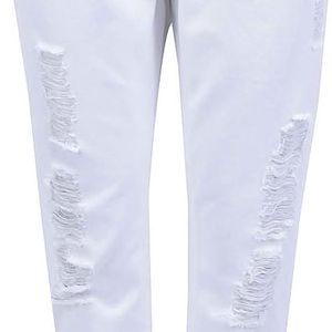 Bílé osminkové kalhoty s potrhaným efektem ONLY Solid