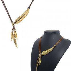 Indiánský náhrdelník s peříčky - 3 varianty