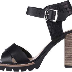 Černé sandály na podpatku Bullboxer