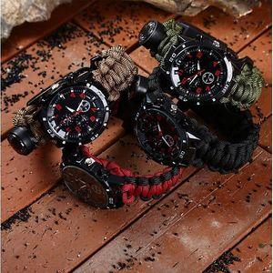 Paracord hodinky pro přežití s kompasem