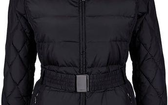 Černá dámská delší bunda s páskem Geox