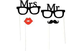 Párty foto doplňky Mr & Mrs - 4 ks