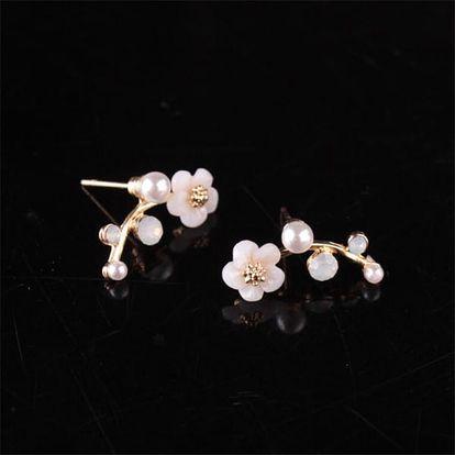 Náušnice v podobě květin z perel - 2 barvy