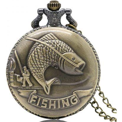 Vintage kapesní hodinky pro rybáře - dodání do 2 dnů
