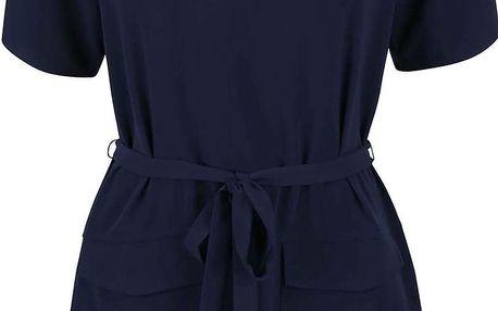 Tmavě modré šaty s 3/4 rukávy a zavazováním v pase Nautica