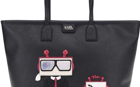 Černý shopper s aplikací robota KARL LAGERFELD