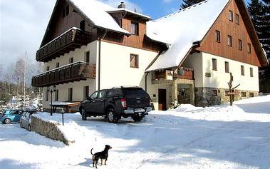 Zimní dovolená pro dva a 1 dítě do 15 let zdarma s polopenzí v rodinném Penzionu Alpský Dům.