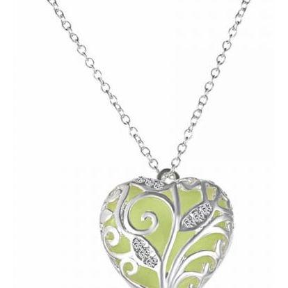 Ve tmě svítící náhrdelník s přívěskem v podobě srdce - žlutá - dodání do 2 dnů