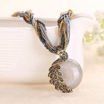 Dámský náhrdelník s kamínkem a pávem