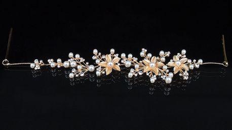 Fashion Icon Plesová čelenka Zlaté květiny do vlasů svatební