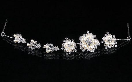 Fashion Icon Plesová čelenka Silver flowers do vlasů svatební
