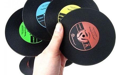 Podtácky v podobě gramofonových desek - 4 ks - dodání do 2 dnů