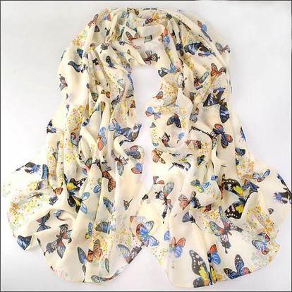 Dámský šátek s jemnými motivy motýlků - bílá - dodání do 2 dnů
