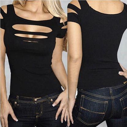 Dámské potrhané tričko v černé barvě - dodání do 2 dnů