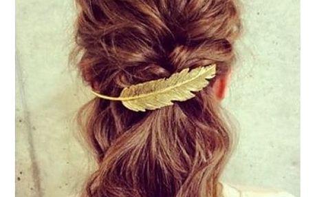 Spona do vlasů v podobě pírka - 3 barvy