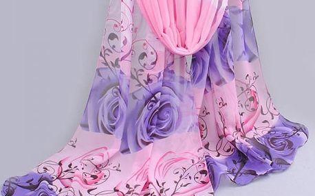 Dámský šátek s motivy růží - více barev
