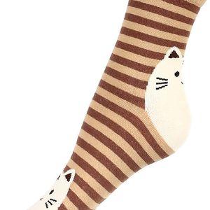Proužkované ponožky s kočkou hnědá