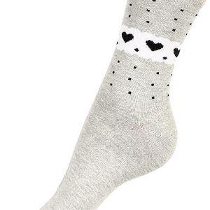 Ponožky se srdíčky šedá