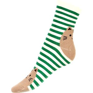 Proužkované ponožky s kočkou zelená