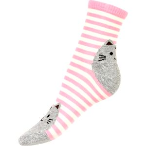 Proužkované ponožky s kočkou světle růžová