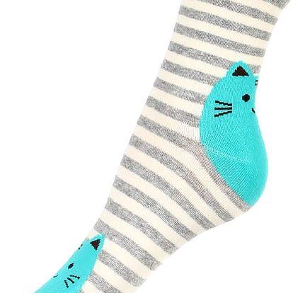 Proužkované ponožky s kočkou šedá