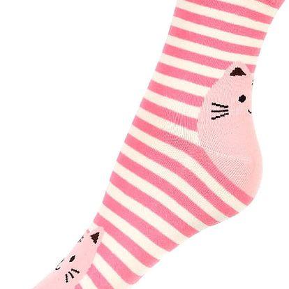 Proužkované ponožky s kočkou růžová