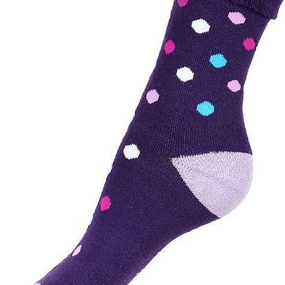 Puntíkované thermo ponožky fialová