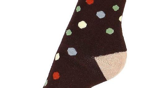 Puntíkované thermo ponožky hnědá