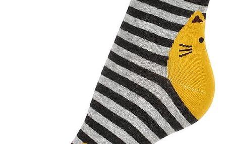 Proužkované ponožky s kočkou černá